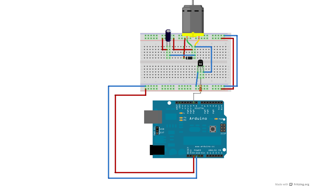 DC motor control with a SN754410 motor driver IC and